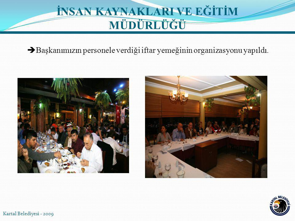  Başkanımızın personele verdiği iftar yemeğinin organizasyonu yapıldı. Kartal Belediyesi - 2009 İNSAN KAYNAKLARI VE EĞİTİM MÜDÜRLÜĞÜ