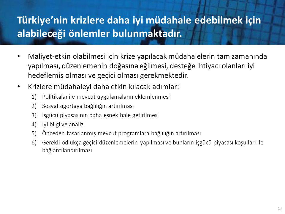 Türkiye'nin krizlere daha iyi müdahale edebilmek için alabileceği önlemler bulunmaktadır. • Maliyet-etkin olabilmesi için krize yapılacak müdahaleleri