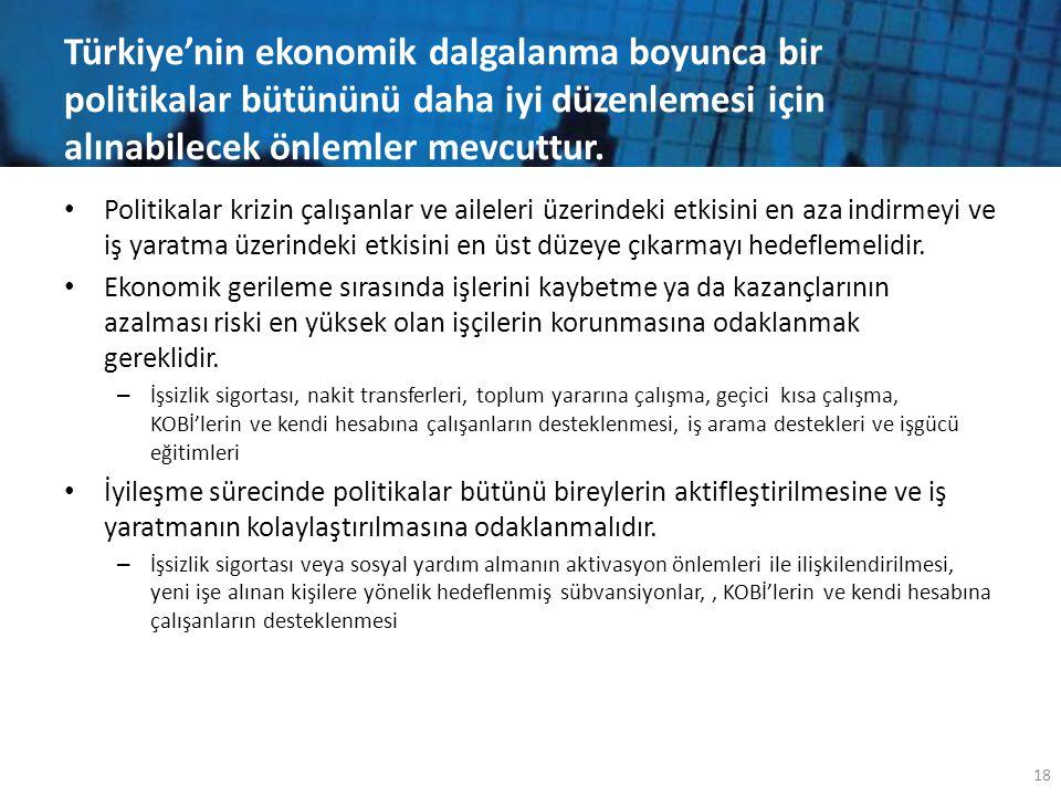 Türkiye'nin ekonomik dalgalanma boyunca bir politikalar bütününü daha iyi düzenlemesi için alınabilecek önlemler mevcuttur. • Politikalar krizin çalış
