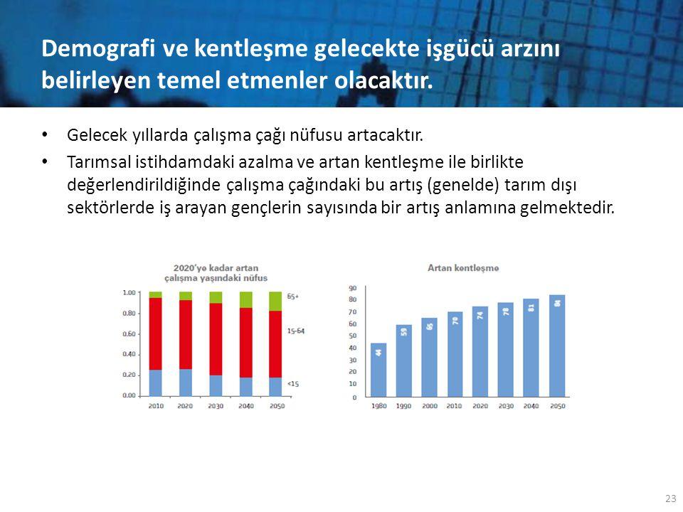 Demografi ve kentleşme gelecekte işgücü arzını belirleyen temel etmenler olacaktır.
