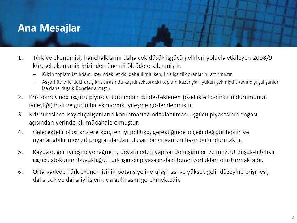 Ana Mesajlar 1.Türkiye ekonomisi, hanehalklarını daha çok düşük işgücü gelirleri yoluyla etkileyen 2008/9 küresel ekonomik krizinden önemli ölçüde etkilenmiştir.
