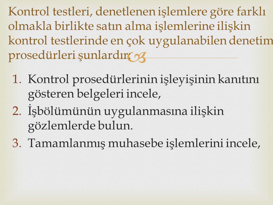  1.Kontrol prosedürlerinin işleyişinin kanıtını gösteren belgeleri incele, 2.İşbölümünün uygulanmasına ilişkin gözlemlerde bulun. 3.Tamamlanmış muhas