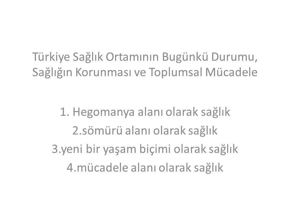Türkiye Sağlık Ortamının Bugünkü Durumu, Sağlığın Korunması ve Toplumsal Mücadele 1. Hegomanya alanı olarak sağlık 2.sömürü alanı olarak sağlık 3.yeni