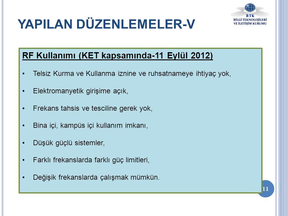 11 YAPILAN DÜZENLEMELER-V RF Kullanımı (KET kapsamında-11 Eylül 2012) •Telsiz Kurma ve Kullanma iznine ve ruhsatnameye ihtiyaç yok, •Elektromanyetik g
