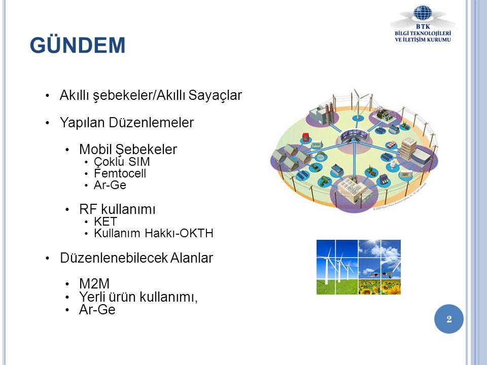 GÜNDEM • Akıllı şebekeler/Akıllı Sayaçlar • Yapılan Düzenlemeler • Mobil Şebekeler • Çoklu SIM • Femtocell • Ar-Ge • RF kullanımı • KET • Kullanım Hak