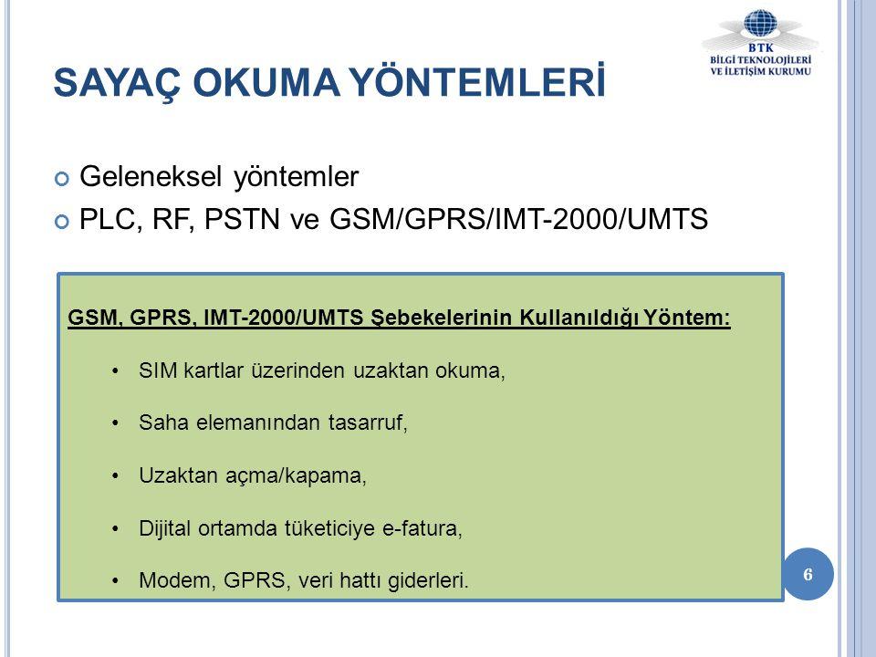 Geleneksel yöntemler PLC, RF, PSTN ve GSM/GPRS/IMT-2000/UMTS 6 SAYAÇ OKUMA YÖNTEMLERİ GSM, GPRS, IMT-2000/UMTS Şebekelerinin Kullanıldığı Yöntem: •SIM