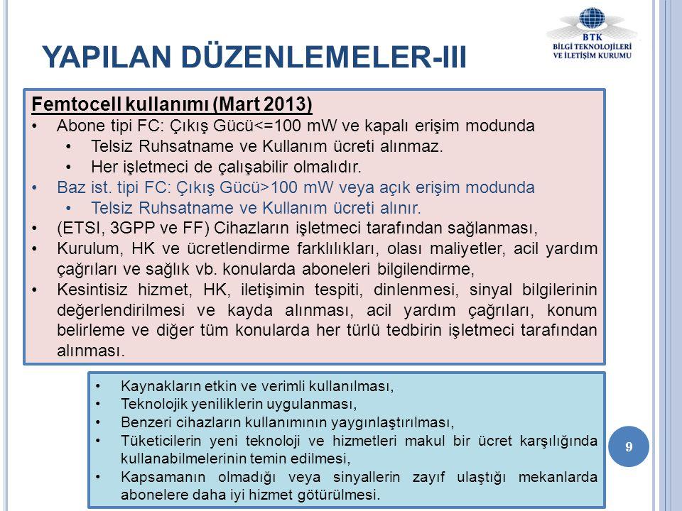 9 YAPILAN DÜZENLEMELER-III Femtocell kullanımı (Mart 2013) •Abone tipi FC: Çıkış Gücü<=100 mW ve kapalı erişim modunda •Telsiz Ruhsatname ve Kullanım