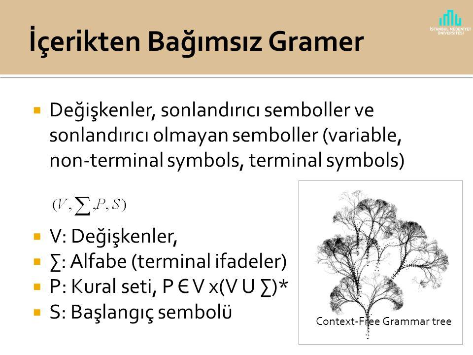  Dil bir alfabe üzerinde tanımlanmış (∑), karakter katarları (string) (∑*) olarak tanımlanır.  Karakter katarları bir gramer kuralına tabi olarak ür