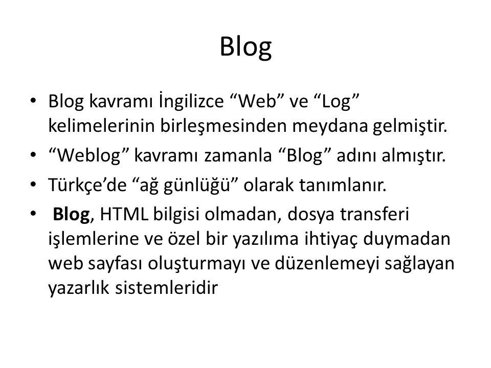 Blog • Blog kavramı İngilizce Web ve Log kelimelerinin birleşmesinden meydana gelmiştir.