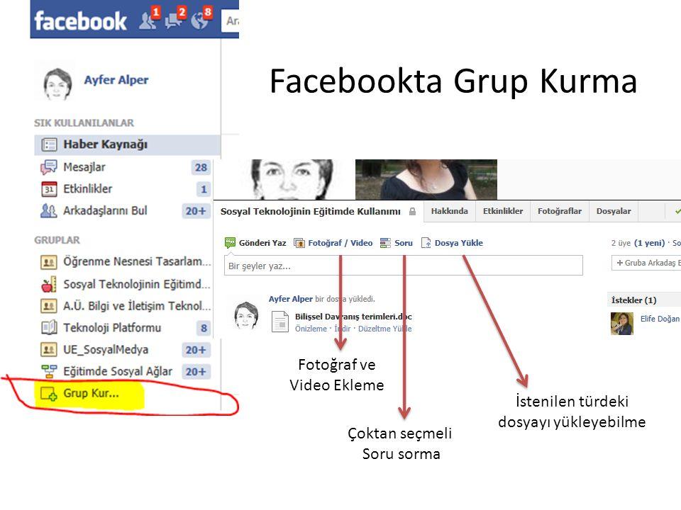 Facebookta Grup Kurma Fotoğraf ve Video Ekleme Çoktan seçmeli Soru sorma İstenilen türdeki dosyayı yükleyebilme