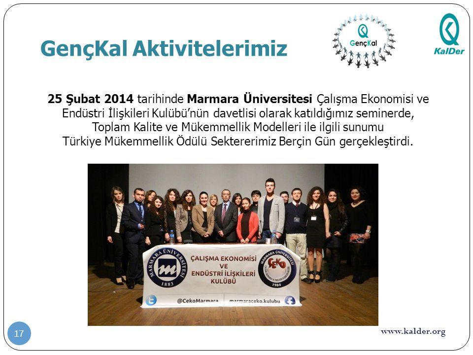 www.kalder.org GençKal Aktivitelerimiz 17 25 Şubat 2014 tarihinde Marmara Üniversitesi Çalışma Ekonomisi ve Endüstri İlişkileri Kulübü'nün davetlisi o