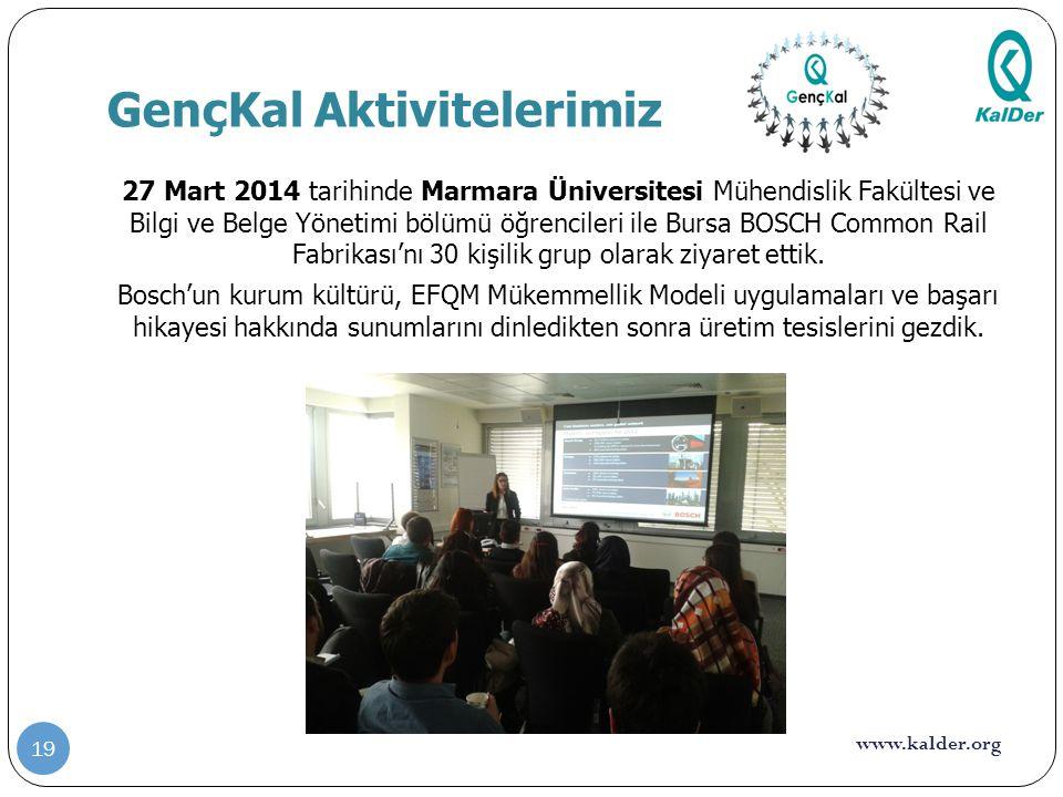 www.kalder.org GençKal Aktivitelerimiz 27 Mart 2014 tarihinde Marmara Üniversitesi Mühendislik Fakültesi ve Bilgi ve Belge Yönetimi bölümü öğrencileri