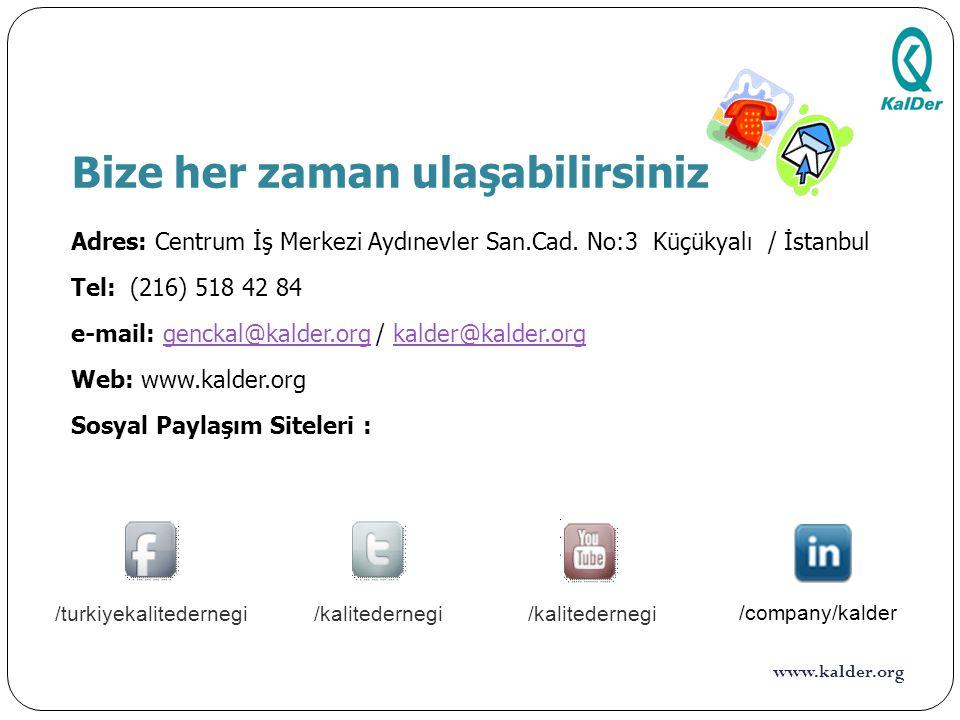 www.kalder.org Bize her zaman ulaşabilirsiniz Adres: Centrum İş Merkezi Aydınevler San.Cad. No:3 Küçükyalı / İstanbul Tel: (216) 518 42 84 e-mail: gen