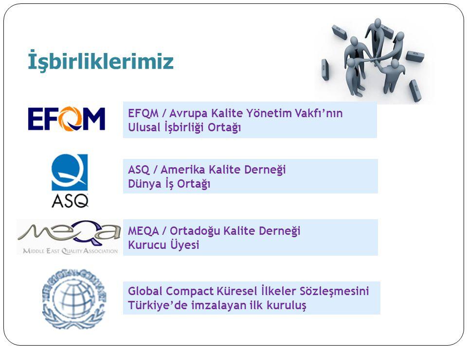 EFQM / Avrupa Kalite Yönetim Vakfı'nın Ulusal İşbirliği Ortağı ASQ / Amerika Kalite Derneği Dünya İş Ortağı MEQA / Ortadoğu Kalite Derneği Kurucu Üyes