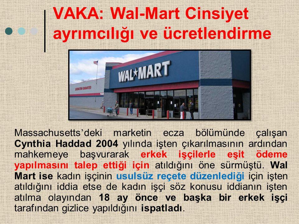 VAKA: Wal-Mart Cinsiyet ayrımcılığı ve ücretlendirme Massachusetts ' deki marketin ecza bölümünde çalışan Cynthia Haddad 2004 yılında işten çıkarılmas