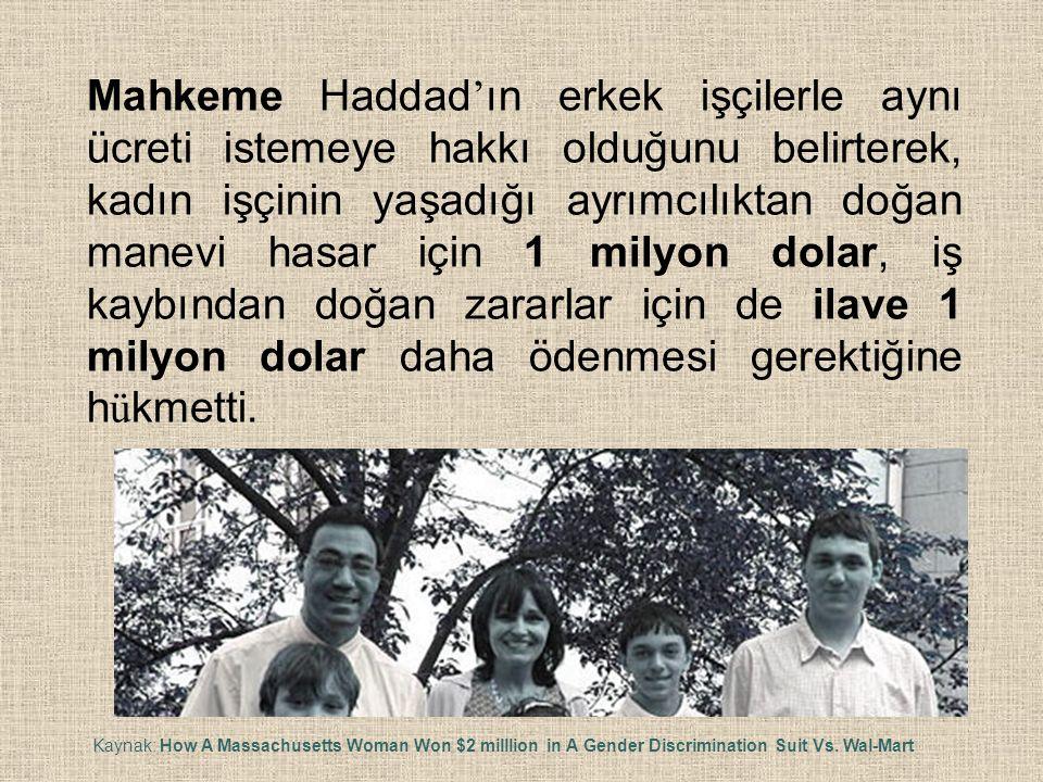 Mahkeme Haddad ' ın erkek işçilerle aynı ücreti istemeye hakkı olduğunu belirterek, kadın işçinin yaşadığı ayrımcılıktan doğan manevi hasar için 1 mil