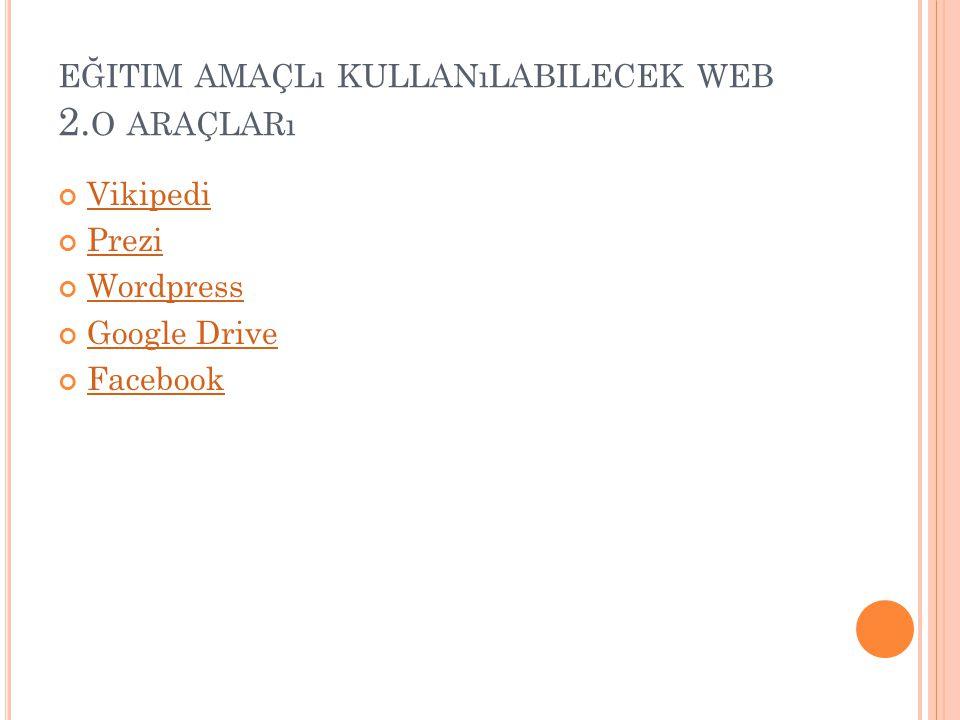 EĞITIM AMAÇLı KULLANıLABILECEK WEB 2. O ARAÇLARı Vikipedi Prezi Wordpress Google Drive Facebook