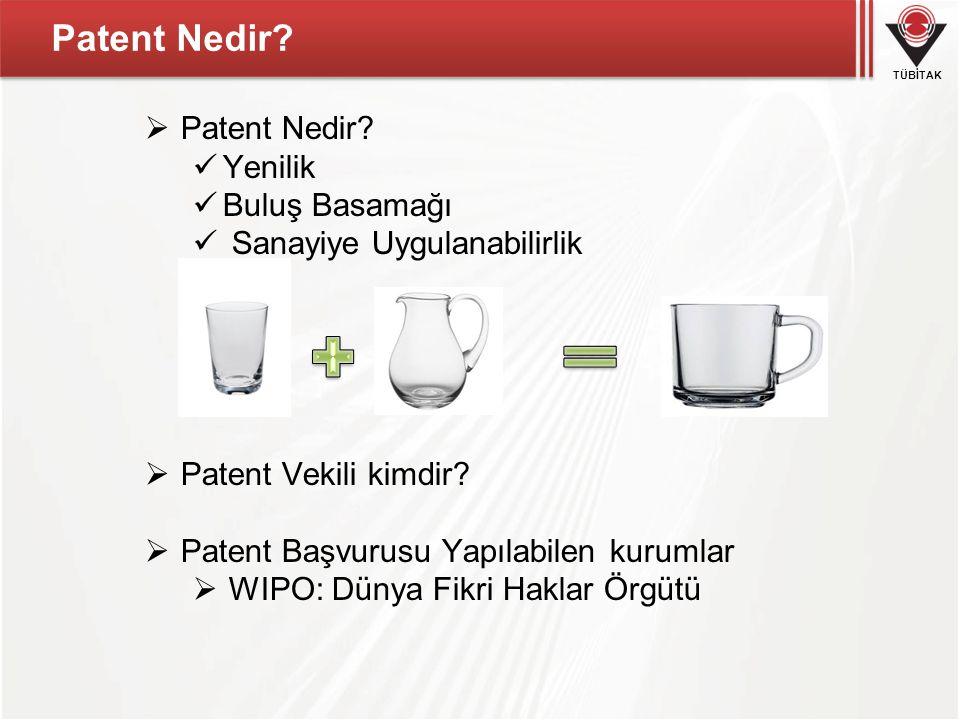 TÜBİTAK Patent Nedir?  Patent Nedir?  Yenilik  Buluş Basamağı  Sanayiye Uygulanabilirlik  Patent Vekili kimdir?  Patent Başvurusu Yapılabilen ku