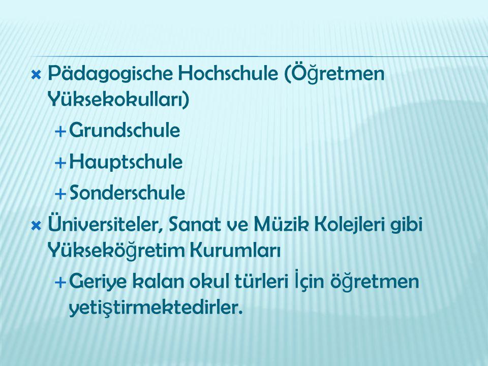  Pädagogische Hochschule (Ö ğ retmen Yüksekokulları)  Grundschule  Hauptschule  Sonderschule  Üniversiteler, Sanat ve Müzik Kolejleri gibi Yüksek