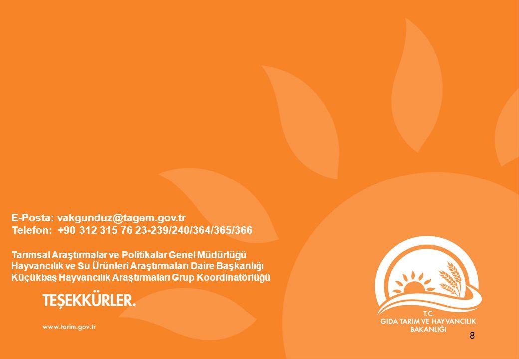 TEŞEKKÜRLER www.gsb.gov.tr 8 E-Posta: vakgunduz@tagem.gov.tr Telefon: +90 312 315 76 23-239/240/364/365/366 Tarımsal Araştırmalar ve Politikalar Genel