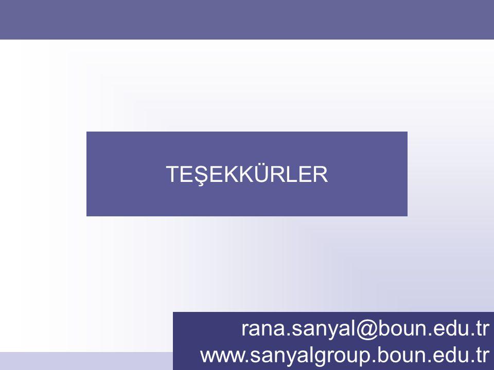 Rana Sanyal rana.sanyal@boun.edu.tr www.sanyalgroup.boun.edu.tr TEŞEKKÜRLER