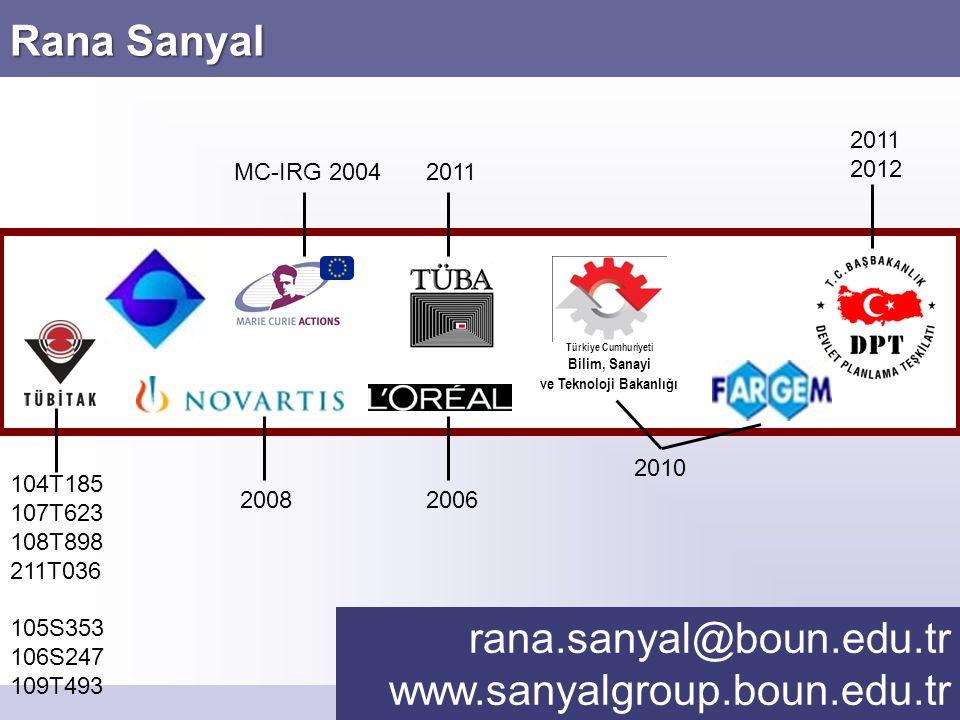 Rana Sanyal rana.sanyal@boun.edu.tr www.sanyalgroup.boun.edu.tr Türkiye Cumhuriyeti Bilim, Sanayi ve Teknoloji Bakanlığı MC-IRG 2004 104T185 107T623 1