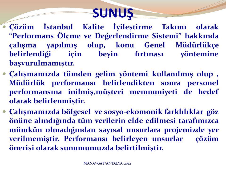 SUNUŞ  Çözüm İstanbul Kalite İyileştirme Takımı olarak Performans Ölçme ve Değerlendirme Sistemi hakkında çalışma yapılmış olup, konu Genel Müdürlükçe belirlendiği için beyin fırtınası yöntemine başvurulmamıştır.