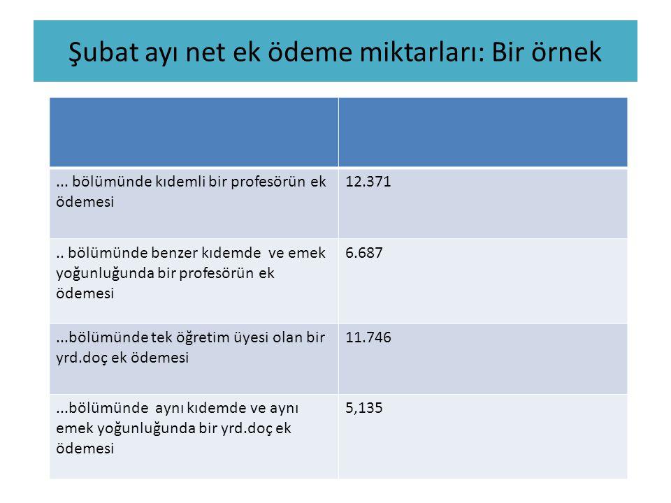 Şubat ayı net ek ödeme miktarları: Bir örnek... bölümünde kıdemli bir profesörün ek ödemesi 12.371.. bölümünde benzer kıdemde ve emek yoğunluğunda bir