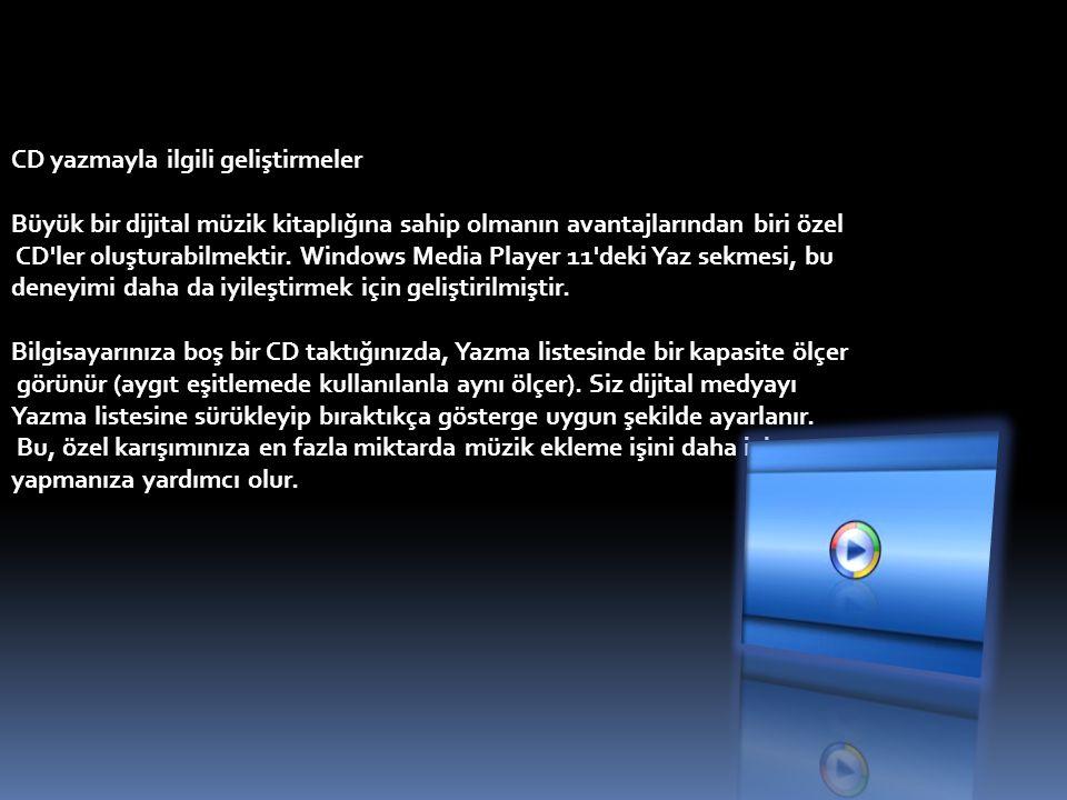 CD yazmayla ilgili geliştirmeler Büyük bir dijital müzik kitaplığına sahip olmanın avantajlarından biri özel CD'ler oluşturabilmektir. Windows Media P