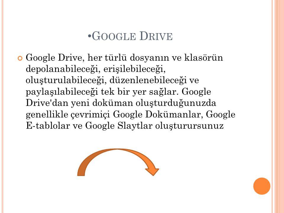 • G OOGLE D RIVE Google Drive, her türlü dosyanın ve klasörün depolanabileceği, erişilebileceği, oluşturulabileceği, düzenlenebileceği ve paylaşılabil