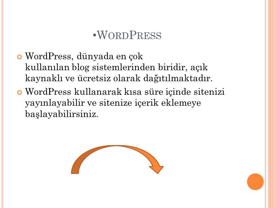 • W ORD P RESS WordPress, dünyada en çok kullanılan blog sistemlerinden biridir, açık kaynaklı ve ücretsiz olarak dağıtılmaktadır. WordPress kullanara