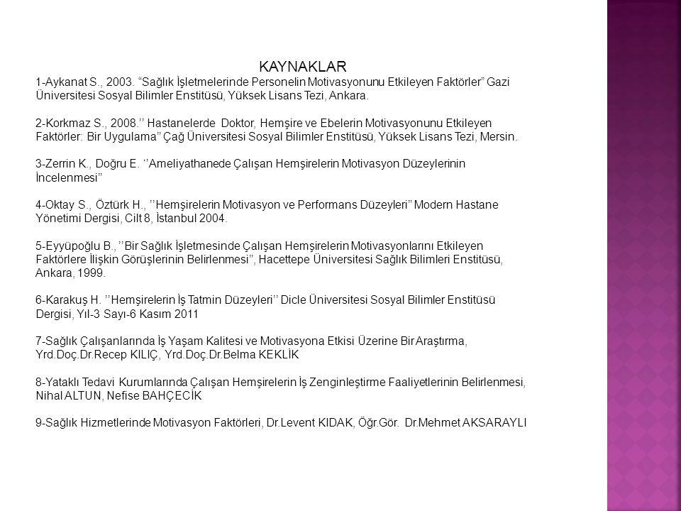 """KAYNAKLAR 1-Aykanat S., 2003. """"Sağlık İşletmelerinde Personelin Motivasyonunu Etkileyen Faktörler"""" Gazi Üniversitesi Sosyal Bilimler Enstitüsü, Yüksek"""