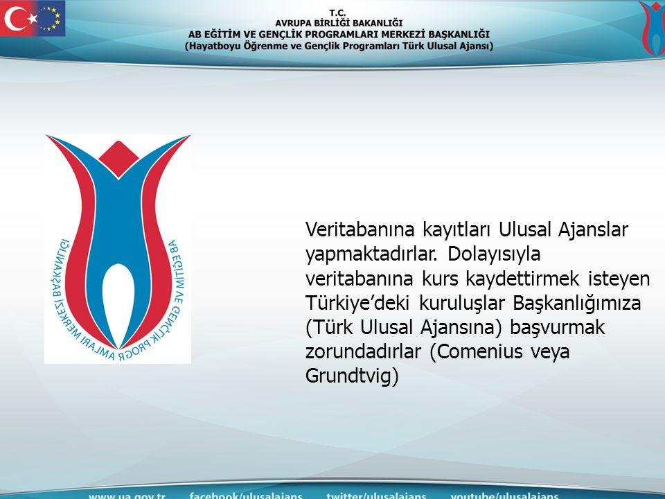 Veritabanına kayıtları Ulusal Ajanslar yapmaktadırlar. Dolayısıyla veritabanına kurs kaydettirmek isteyen Türkiye'deki kuruluşlar Başkanlığımıza (Türk