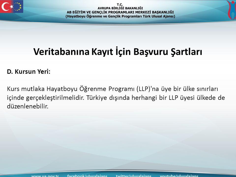 Veritabanına Kayıt İçin Başvuru Şartları D. Kursun Yeri: Kurs mutlaka Hayatboyu Öğrenme Programı (LLP)'na üye bir ülke sınırları içinde gerçekleştiril