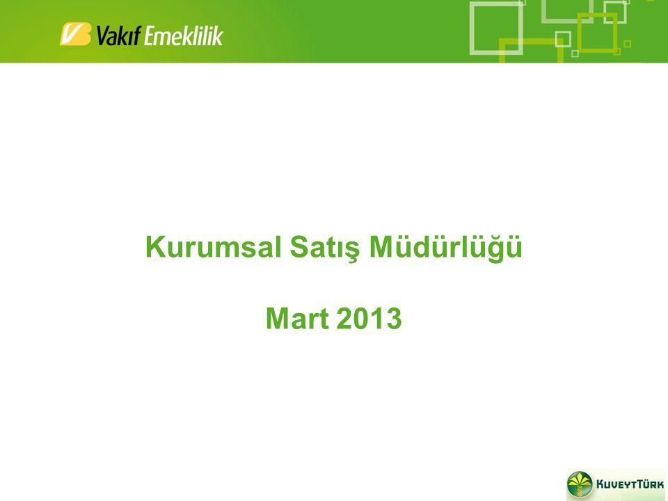 Kurumsal Satış Müdürlüğü Mart 2013