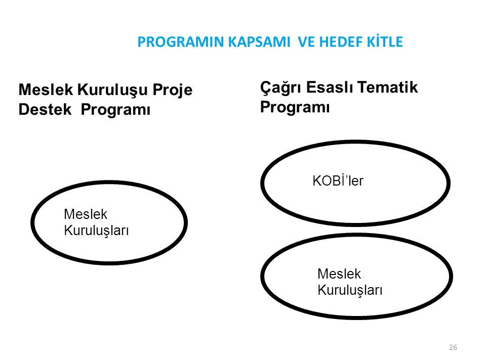 26 PROGRAMIN KAPSAMI VE HEDEF KİTLE Meslek Kuruluşu Proje Destek Programı Çağrı Esaslı Tematik Programı Meslek Kuruluşları KOBİ'ler Meslek Kuruluşları