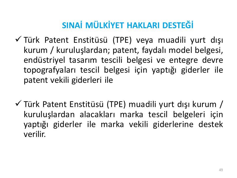 49  Türk Patent Enstitüsü (TPE) veya muadili yurt dışı kurum / kuruluşlardan; patent, faydalı model belgesi, endüstriyel tasarım tescili belgesi ve e