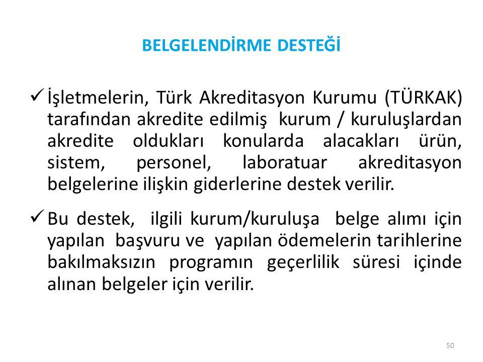 50 BELGELENDİRME DESTEĞİ  İşletmelerin, Türk Akreditasyon Kurumu (TÜRKAK) tarafından akredite edilmiş kurum / kuruluşlardan akredite oldukları konula