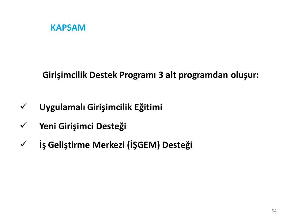 54 KAPSAM Girişimcilik Destek Programı 3 alt programdan oluşur:  Uygulamalı Girişimcilik Eğitimi  Yeni Girişimci Desteği  İş Geliştirme Merkezi (İŞ