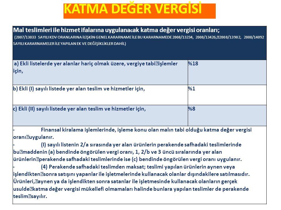 KATMA DEĞER VERGİSİ Mal teslimleri ile hizmet ifalarına uygulana c ak katma değer vergisi oranları; (2007/13033 SAYILI KDV ORANLARINA İLİŞKİN GENEL KARARNAME İLE BU KARARNAMEDE 2008/13234, 2008/13426, 2008/13902, 2008/14092 SAYILI KARARNAMELER İLE YAPILAN EK VE DEĞİŞİKLİKLER DAHİL) a) Ekli listelerde yer alanlar hariç olmak üzere, vergiye tabi işlemler için, %18 b) Ekli (I) sayılı listede yer alan teslim ve hizmetler için,%1 c) Ekli (II) sayılı listede yer alan teslim ve hizmetler için,%8 -Finansal kiralama işlemlerinde, işleme konu olan malın tabi olduğu katma değer vergisi oranı uygulanır.