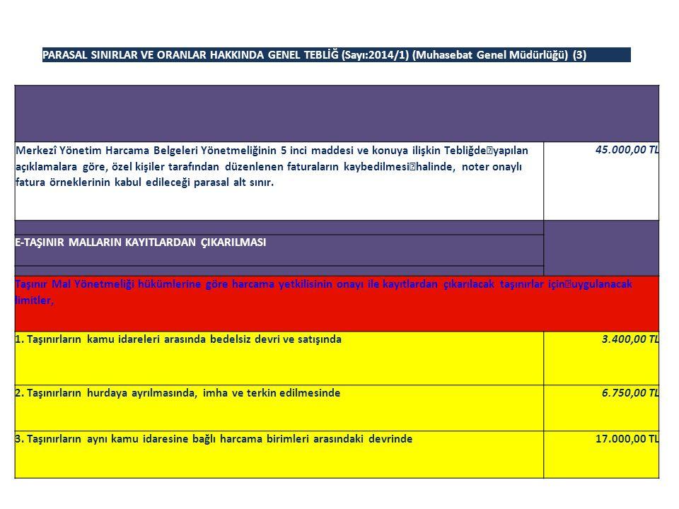 PARASAL SINIRLAR VE ORANLAR HAKKINDA GENEL TEBLİĞ (Sayı:2014/1) (Muhasebat Genel Müdürlüğü) (3) Merkezî Yönetim Harcama Belgeleri Yönetmeliğinin 5 inc