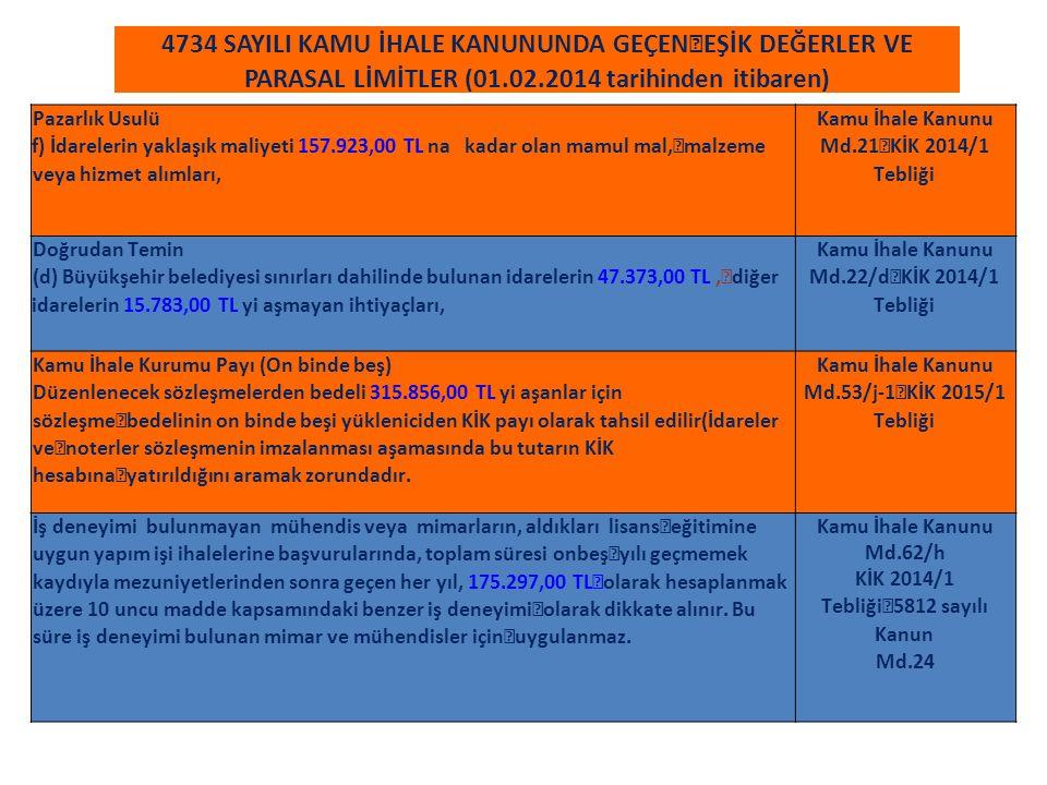4734 SAYILI KAMU İHALE KANUNUNDA GEÇEN EŞİK DEĞERLER VE PARASAL LİMİTLER (01.02.2014 tarihinden itibaren) Pazarlık Usulü f) İdarelerin yaklaşık maliye