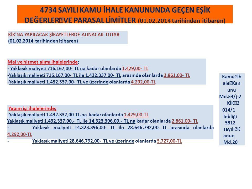 4734 SAYILI KAMU İHALE KANUNUNDA GEÇEN EŞİK DEĞERLER VE PARASAL LİMİTLER (01.02.2014 tarihinden itibaren) KİK NA YAPILACAK ŞİKAYETLERDE ALINACAK TUTAR (01.02.2014 tarihinden itibaren) Mal ve hizmet alımı ihalelerinde; - Yaklaşık maliyeti 716.167,00- TL na kadar olanlarda 1.429,00- TL -Yaklaşık maliyeti 716.167,00- TL ile 1.432.337,00- TL arasında olanlarda 2.861,00- TL -Yaklaşık maliyeti 1.432.337,00- TL ve üzerinde olanlarda 4.292,00-TL Yapım işi ihalelerinde; -Yaklaşık maliyeti 1.432.337,00-TL.na kadar olanlarda 1.429,00-TL Yaklaşık maliyeti 1.432.337,00,- TL ile 14.323.396,00,- TL na kadar olanlarda 2.861,00- TL -Yaklaşık maliyeti 14.323.396,00- TL ile 28.646.792,00 TL arasında olanlarda 4.292,00-TL -Yaklaşık maliyeti 28.646.792,00- TL ve üzerinde olanlarda 5.727,00-TL Kamu İh ale Kan unu Md.53/j-2 KİK 2 014/1 Tebliği 5812 sayılı K anun Md.20