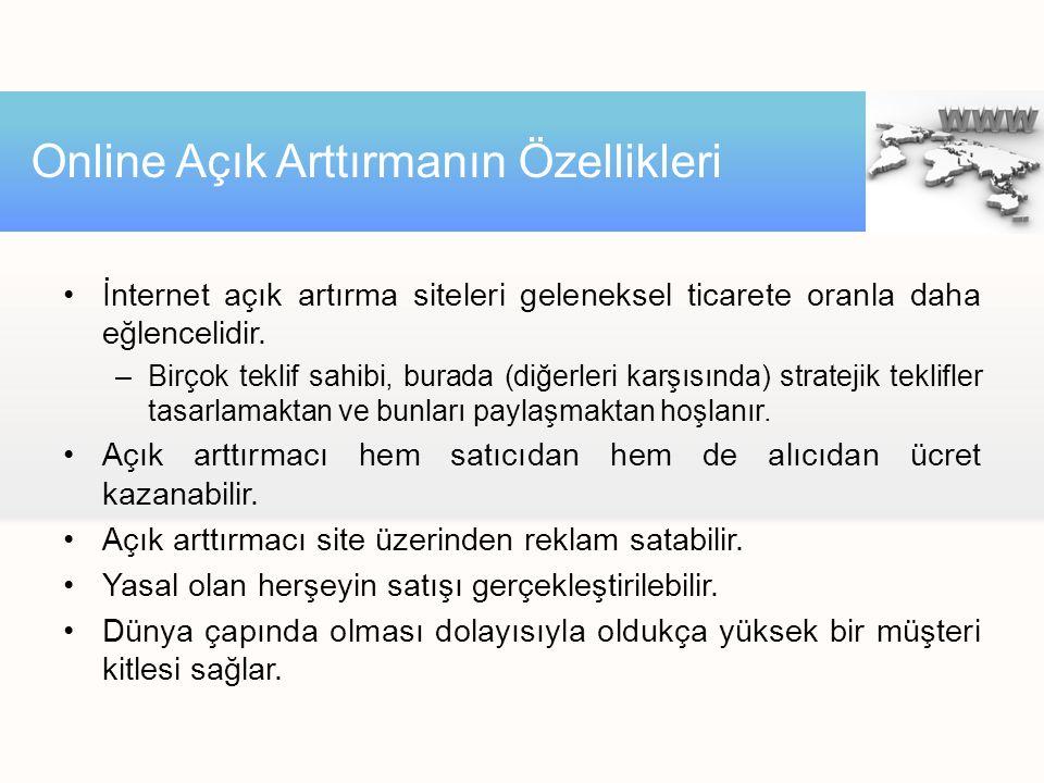 •İnternet açık artırma siteleri geleneksel ticarete oranla daha eğlencelidir.