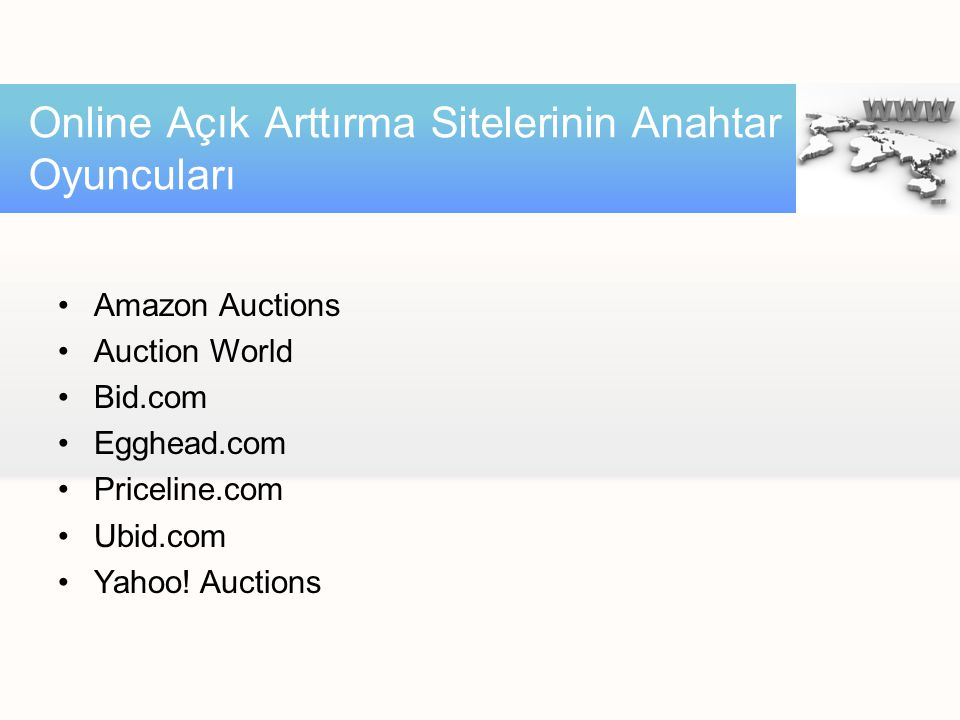 •Amazon Auctions •Auction World •Bid.com •Egghead.com •Priceline.com •Ubid.com •Yahoo.
