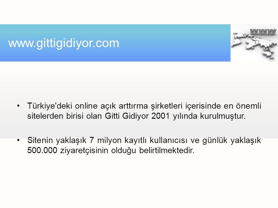 •Türkiye deki online açık arttırma şirketleri içerisinde en önemli sitelerden birisi olan Gitti Gidiyor 2001 yılında kurulmuştur.