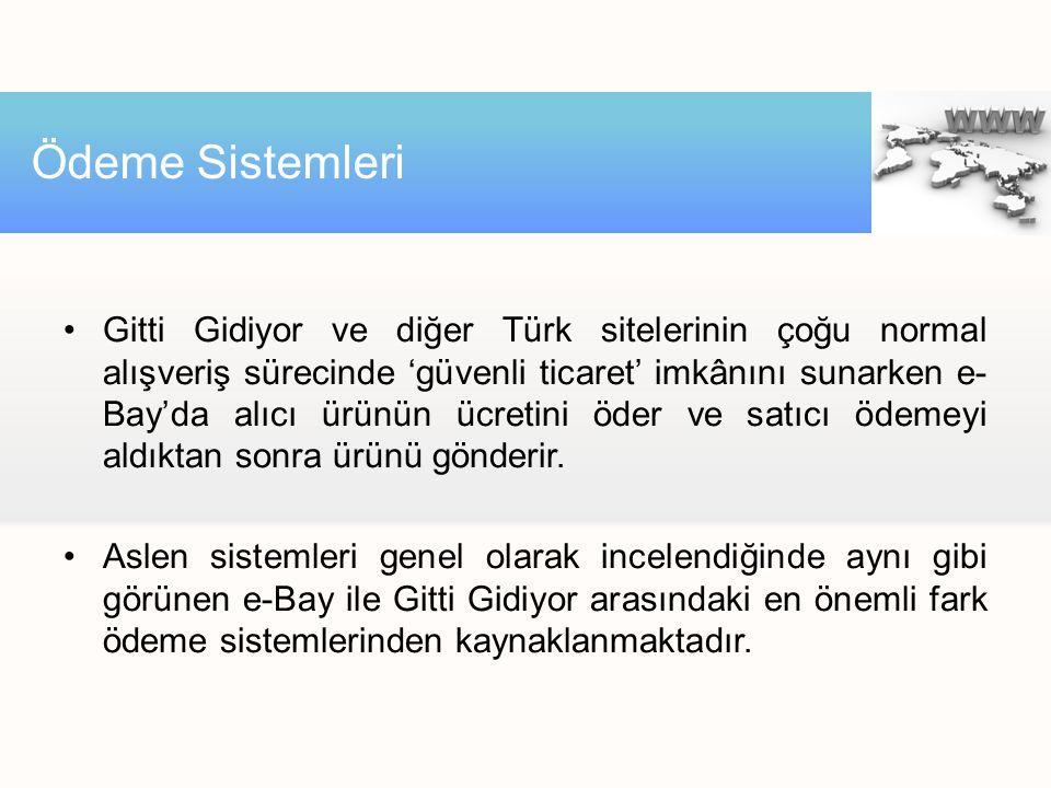 •Gitti Gidiyor ve diğer Türk sitelerinin çoğu normal alışveriş sürecinde 'güvenli ticaret' imkânını sunarken e- Bay'da alıcı ürünün ücretini öder ve satıcı ödemeyi aldıktan sonra ürünü gönderir.