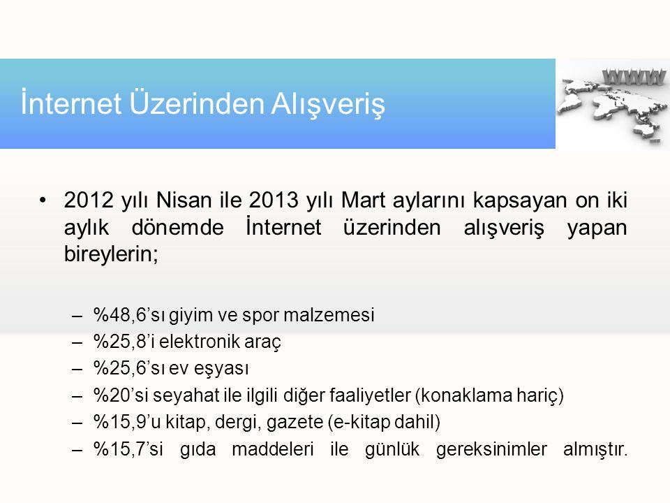 •2012 yılı Nisan ile 2013 yılı Mart aylarını kapsayan on iki aylık dönemde İnternet üzerinden alışveriş yapan bireylerin; –%48,6'sı giyim ve spor malzemesi –%25,8'i elektronik araç –%25,6'sı ev eşyası –%20'si seyahat ile ilgili diğer faaliyetler (konaklama hariç) –%15,9'u kitap, dergi, gazete (e-kitap dahil) –%15,7'si gıda maddeleri ile günlük gereksinimler almıştır.