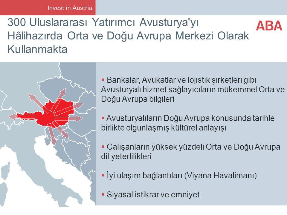300 Uluslararası Yatırımcı Avusturya yı Hâlihazırda Orta ve Doğu Avrupa Merkezi Olarak Kullanmakta  Bankalar, Avukatlar ve lojistik şirketleri gibi Avusturyalı hizmet sağlayıcıların mükemmel Orta ve Doğu Avrupa bilgileri  Avusturyalıların Doğu Avrupa konusunda tarihle birlikte olgunlaşmış kültürel anlayışı  Çalışanların yüksek yüzdeli Orta ve Doğu Avrupa dil yeterlilikleri  İyi ulaşım bağlantıları (Viyana Havalimanı)  Siyasal istikrar ve emniyet