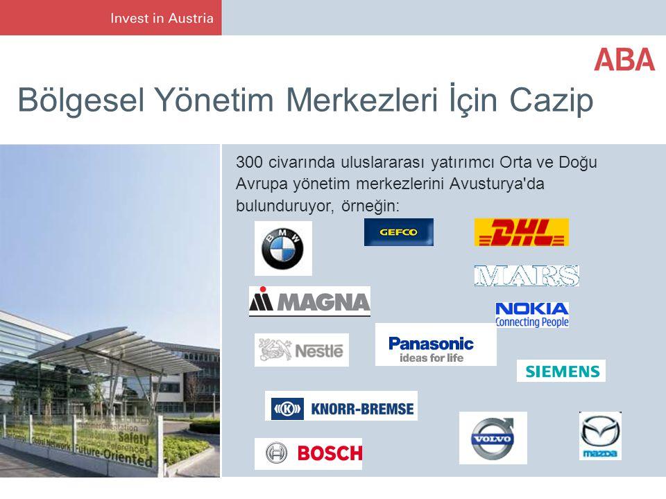 Bölgesel Yönetim Merkezleri İçin Cazip 300 civarında uluslararası yatırımcı Orta ve Doğu Avrupa yönetim merkezlerini Avusturya da bulunduruyor, örneğin: